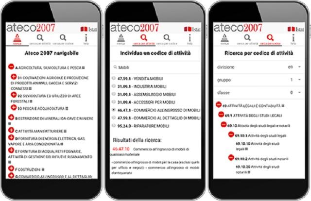 Una nuova app per i codici Ateco 2007