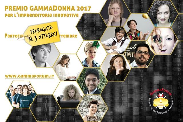 Prorogato fino al 3 ottobre il termine per iscriversi al Premio GammaDonna, riconoscimento all'imprenditoria innovativa di donne e giovani