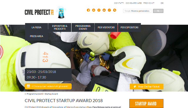 Civil Protect Startup Award 2018, premio per imprese innovative