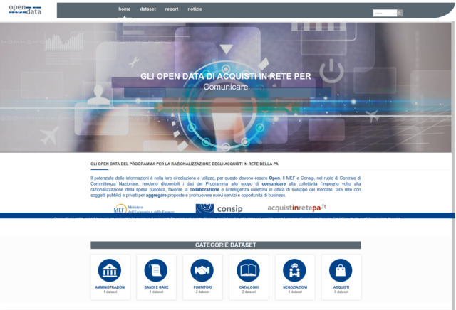On-line il nuovo portale Open Data MEF/CONSIP con più informazioni su gare e contratti delle P.A.