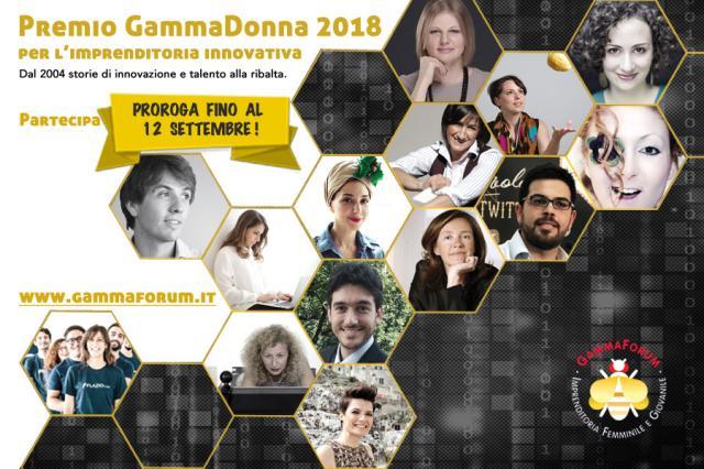 Prorogato fino al 12 settembre il termine iscrizioni al Premio GammaDonna, riconoscimento all'imprenditoria innovativa di donne e giovani