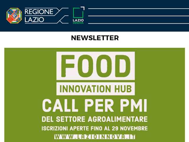 Food Innovation Hub: la call del Lazio per il settore agroalimentare